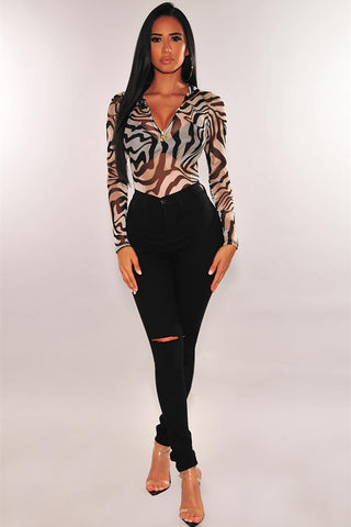 Black Zebra Print Mesh Zipper Bodysuit