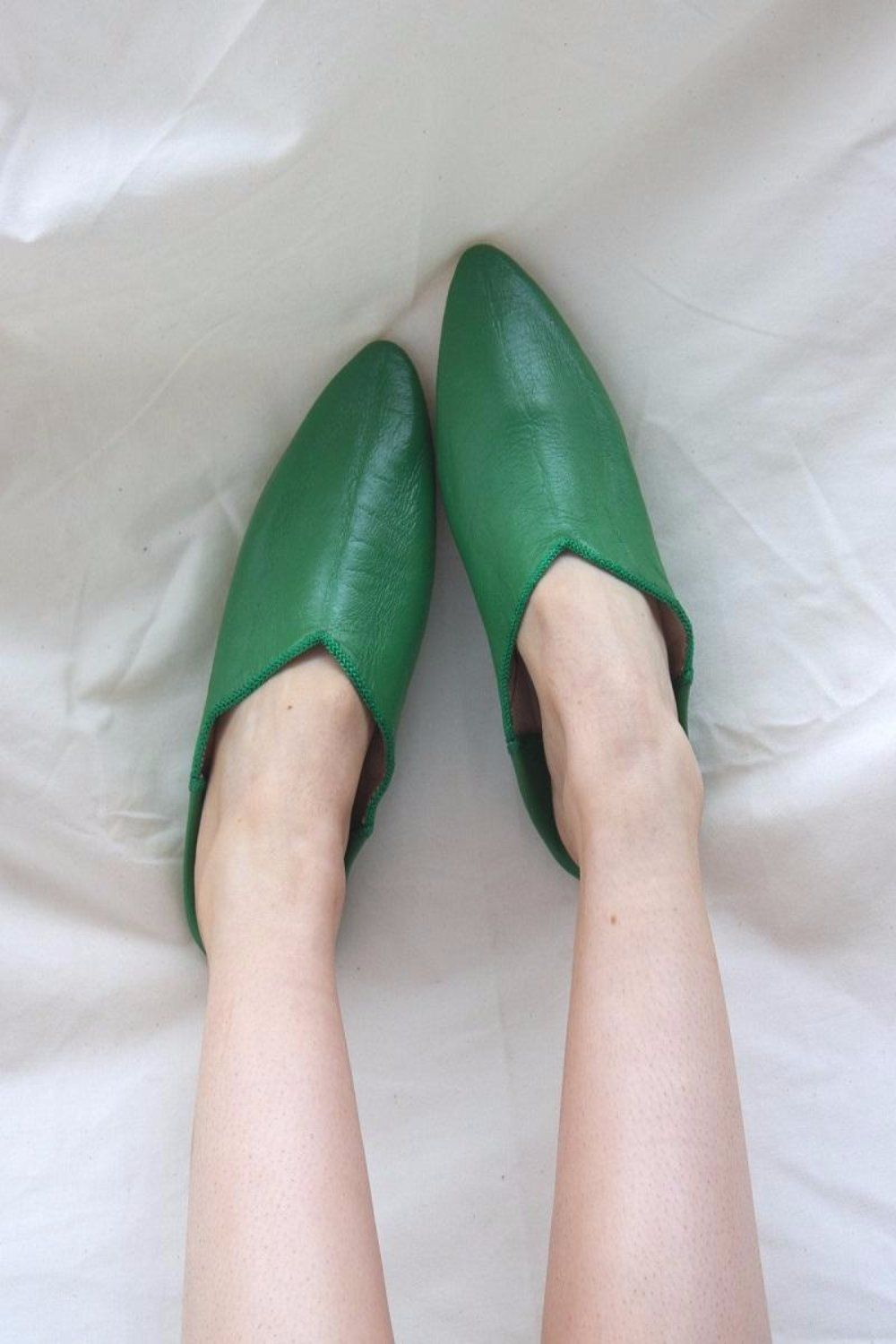 Leather Babouche - Green size 7.5-8