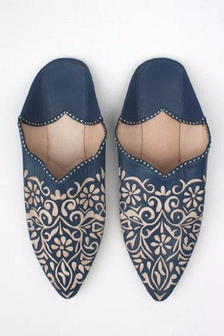 Leather Babouche - Indigo/Blue size 8.5-9