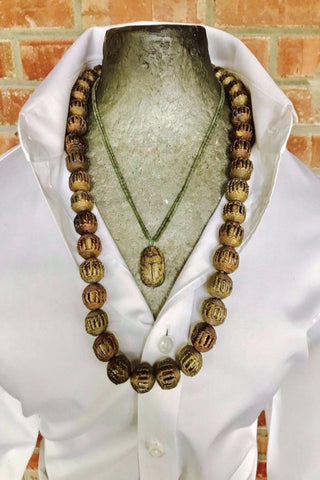 Authentic African Bead and Egyptian Amulet Necklace