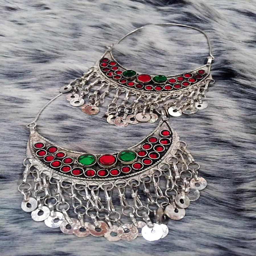 Antique Gypsy, Turkmen Hoop Metal Earrings