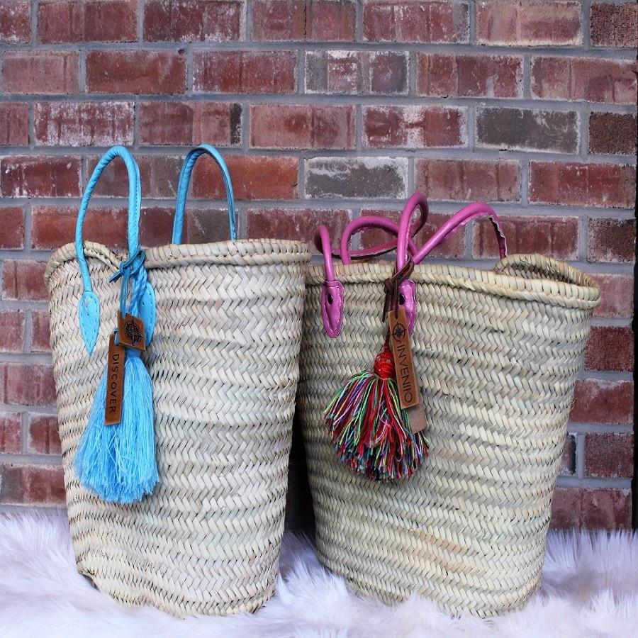 Pink - Baby Blue -- Light Brown- Leather Handles - Moroccan Bags