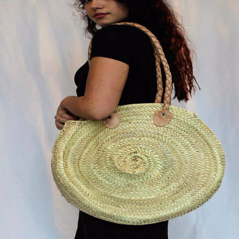 Circular Bag with long braided leather handles