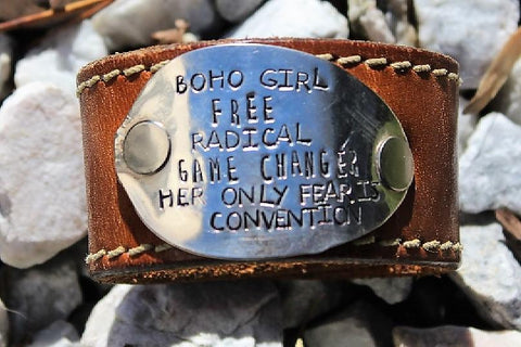 Boho Girl - Beautiful light brown leather cuff