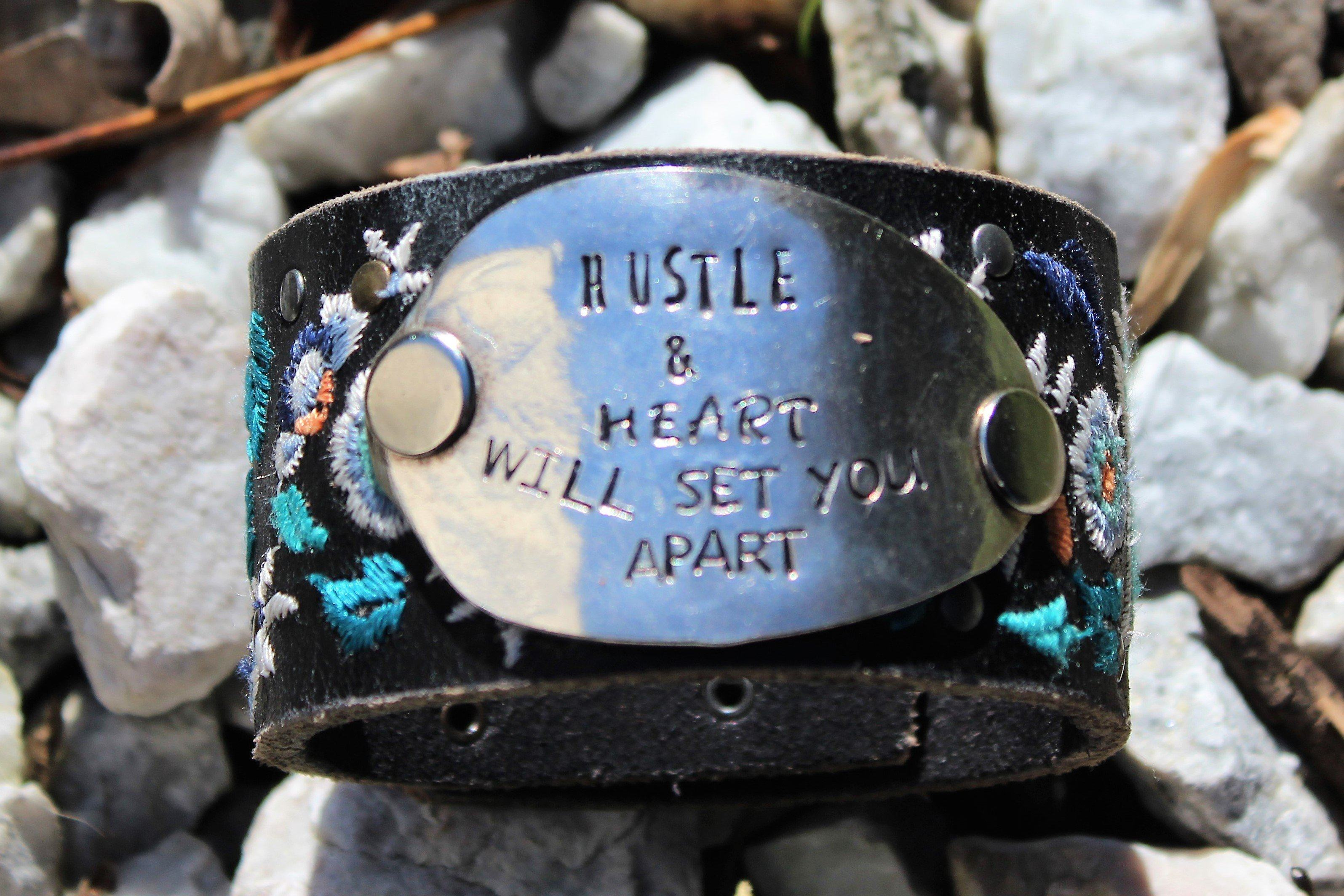 Hustle and Heart - Embroidery Leather Cuff