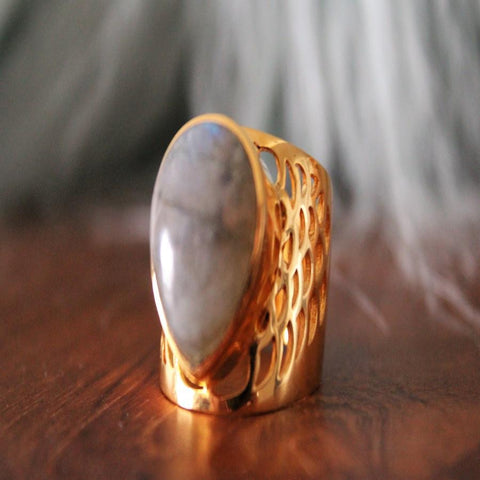 Boho Chic gray stone gold plated filigree ring