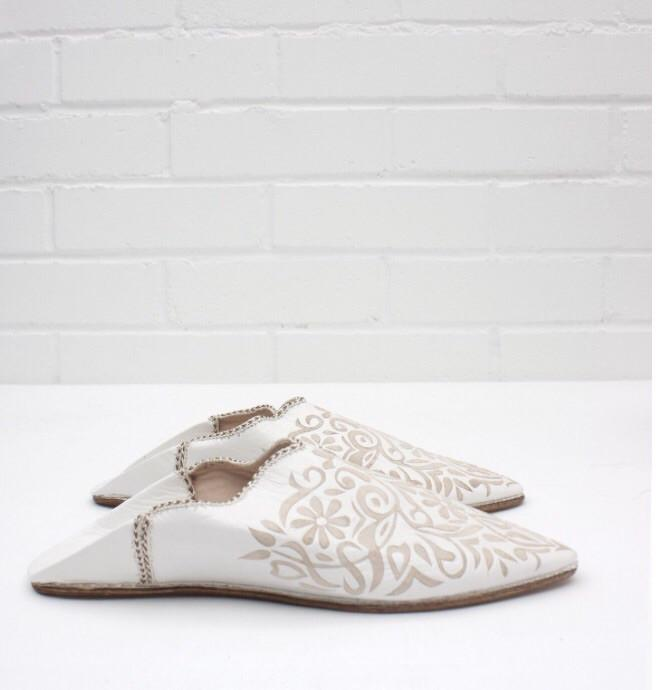 Leather Babouche - White