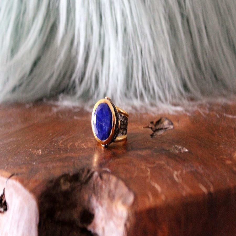 Boho Chic lapis gold plated ring