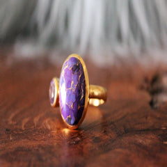 Boho Chic purple stone ring