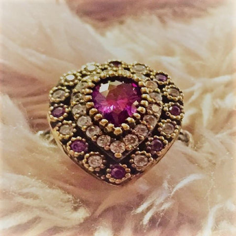 Designer Ring- sterling silver with tear drop shape amethyst semi precious stone