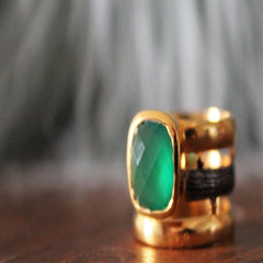 Boho Chic emerald color ring in dual color metal