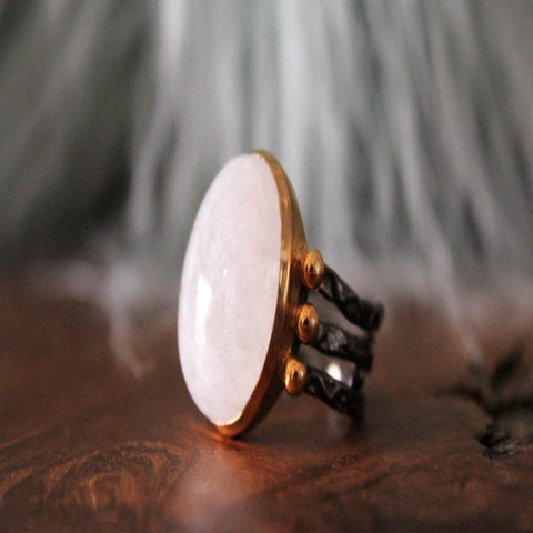 Boho Chic golden oxidize ring with white stone