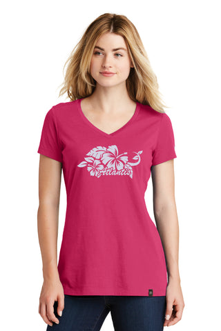 Hibiscus Flower V-Neck Tee - Shop Atlantis Bahamas