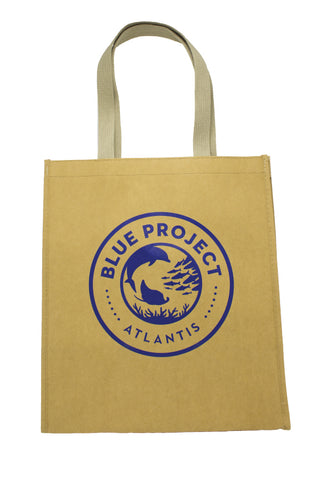 Washable Kraft Paper Tote Bag: Blue Project - 13 x 10 x 15 - Shop Atlantis Bahamas