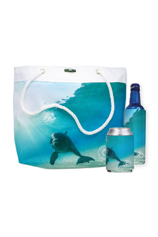 Dolphin Cay Rope Tote Bag and Coozies Set - Shop Atlantis Bahamas