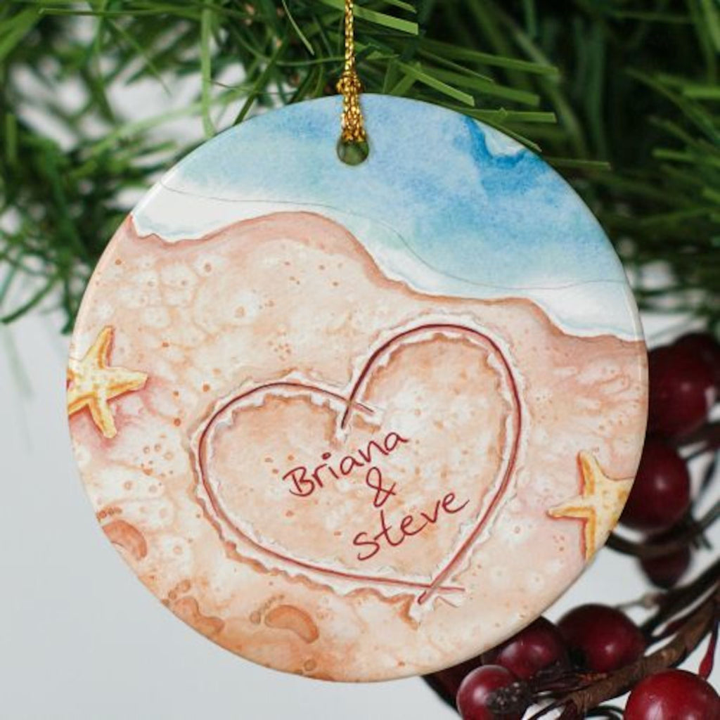 Personalized couples christmas ornaments - Personalized Couples Beach Ornament