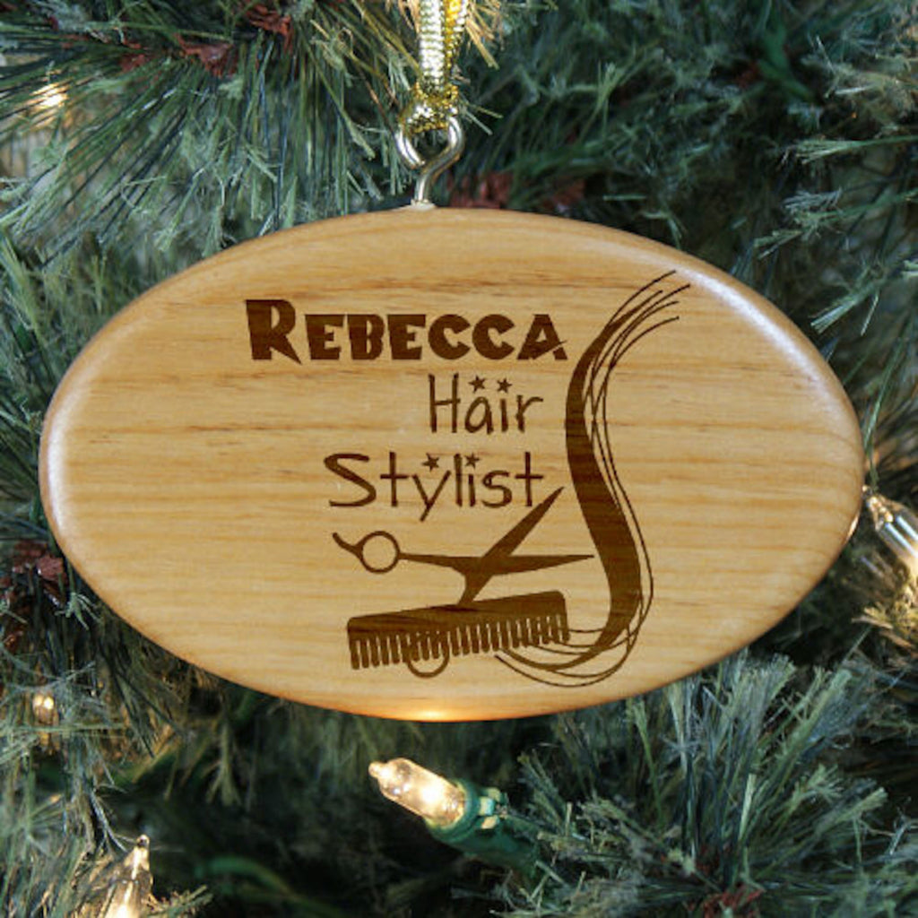 Hair stylist christmas ornaments - Personalized Engraved Hair Stylist Wooden Oval Ornament