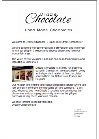 Voucher for Chocolate Gift