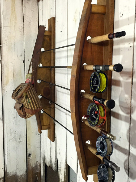 Reclaimed Napa Valley Wine Stave Fly Fishing Rack