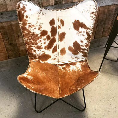 Brown and White Cowhide Butterfly Chair