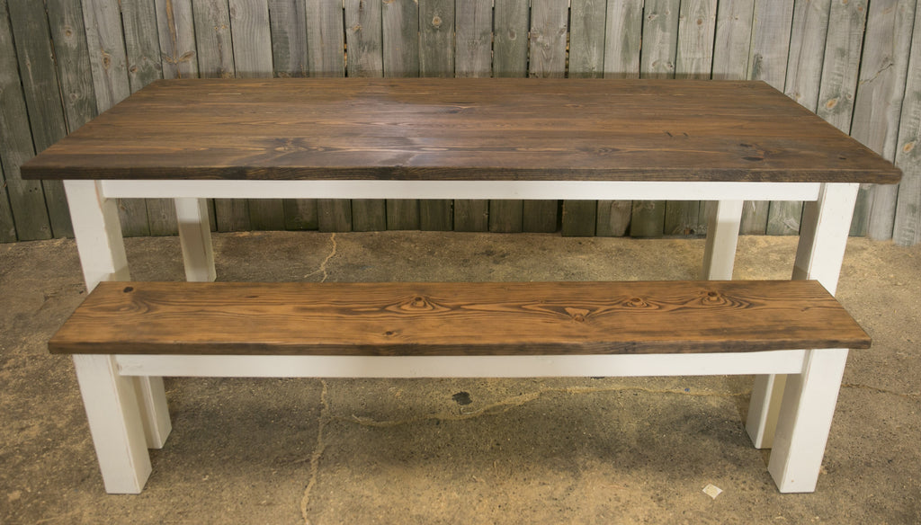 ... Elizabeth C. Custom Harvest Table And 1 Rustic Bench ...