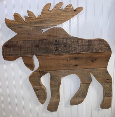 Wall Hanging Reclaimed Wood Moose