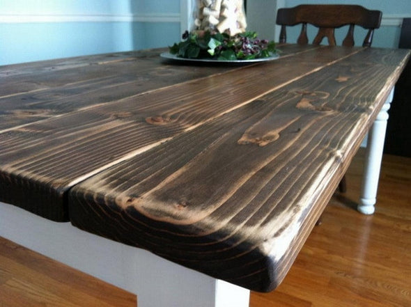 Andrew N. Custom Harvest Table and Rustic Bench