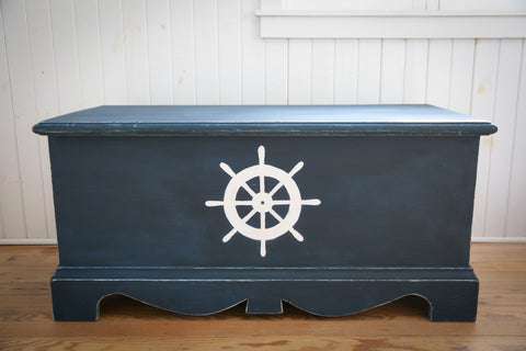 Sailor Blue Nautical Blanket Chest