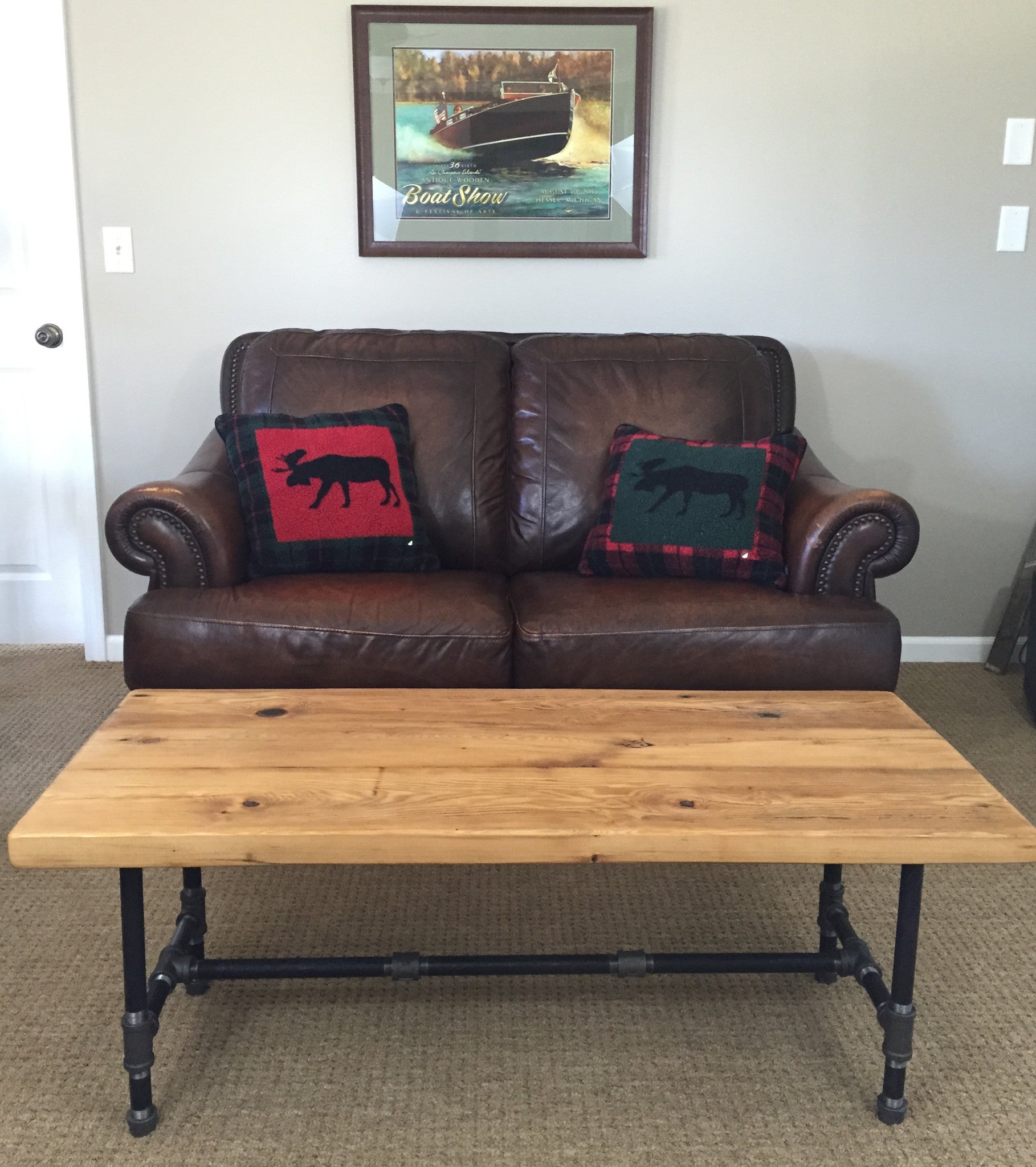Reclaimed Barn Wood Coffee Table With Industrial Pipe Legs
