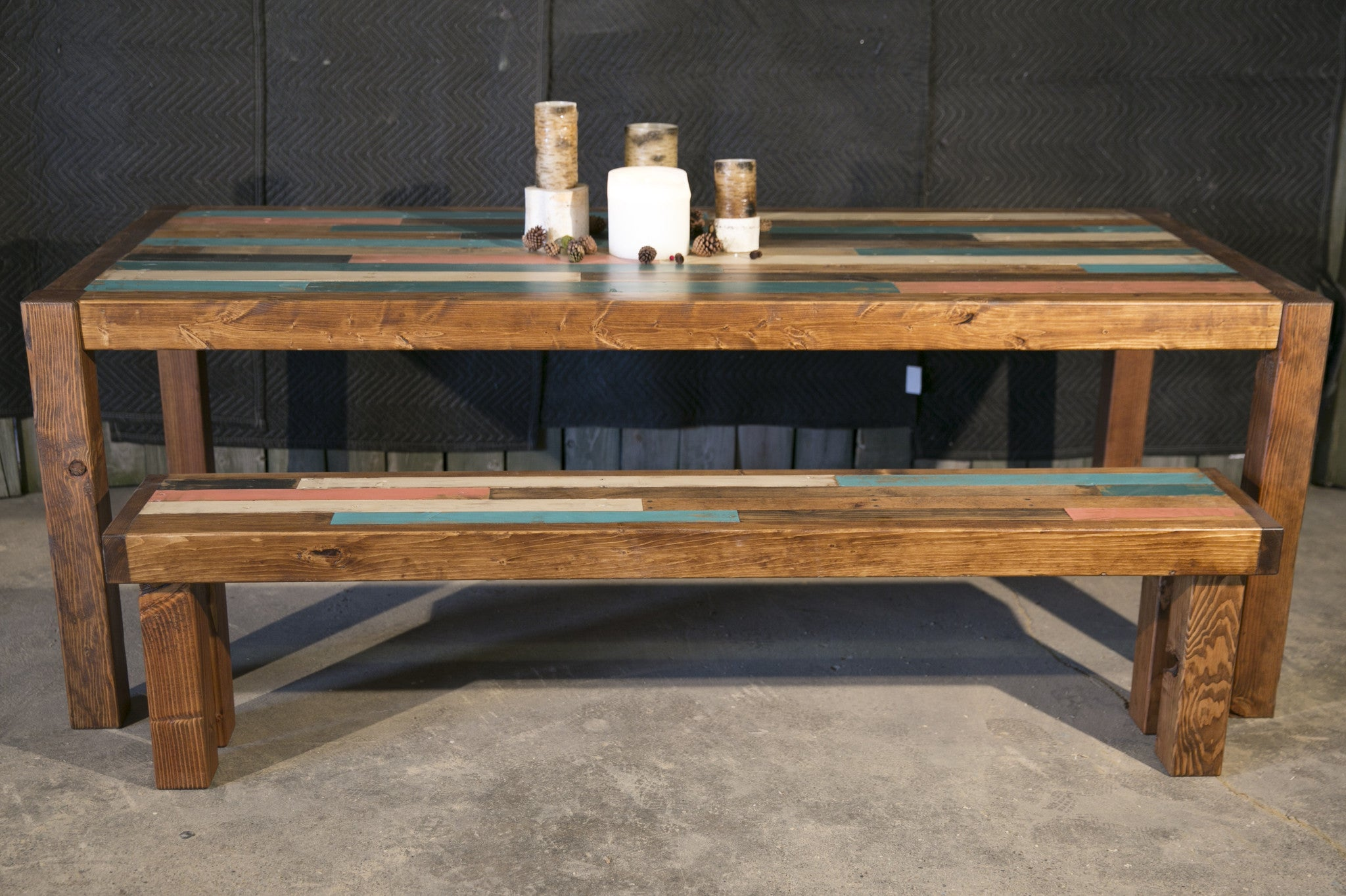 Painted Slat Farmhouse Table With Bench Set Great Lakes Reclaimed
