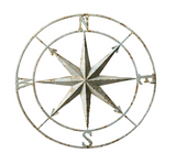 Large Aqua Metal Compass Wall Hanging