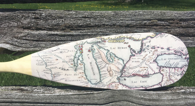 French Canadian Vintage Map Paddle