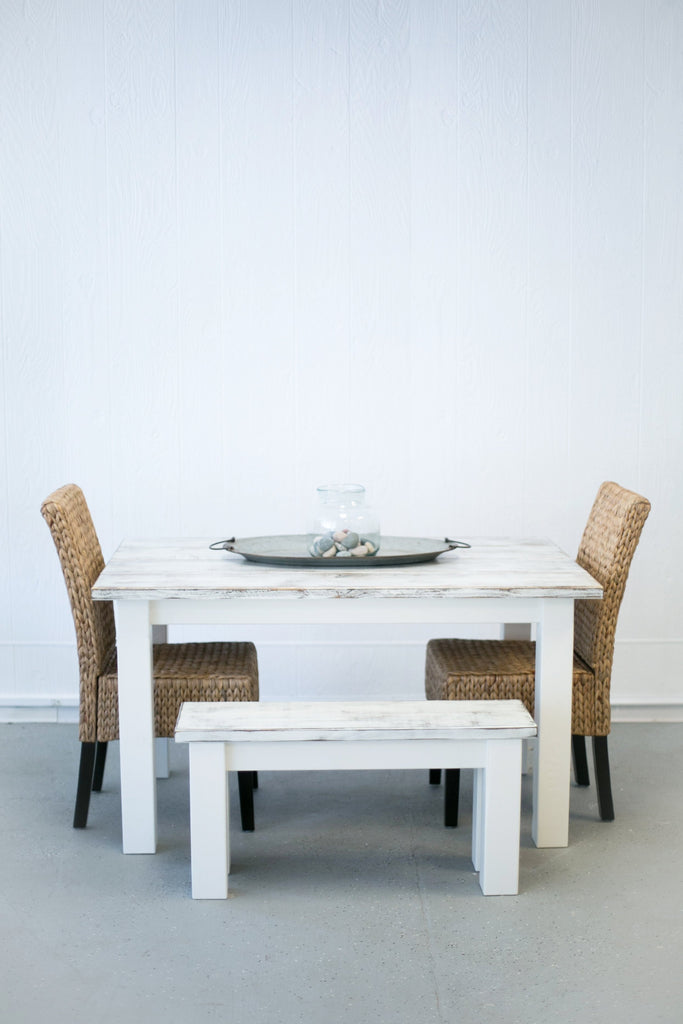 White Washed Dinette Table with Bench