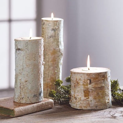 Birch Bark Candle Holders