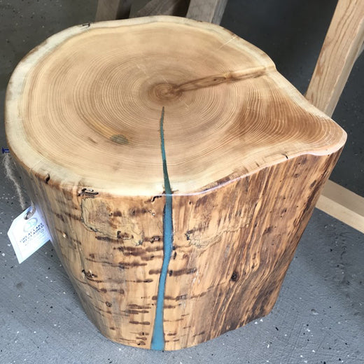 Cedar Stump End Table with Turqoise
