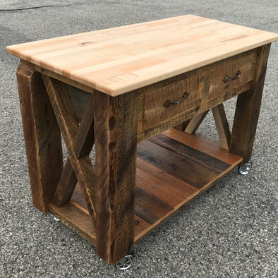 Reclaimed Barn Wood Kitchen Island -
