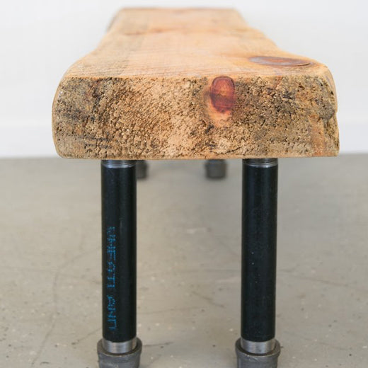 Live Edge Pipe Leg Bench