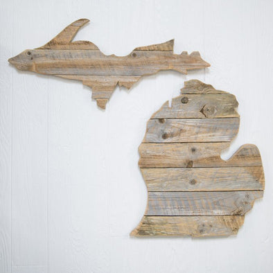 Reclaimed Wood State of Michigan with Petoskey Stone