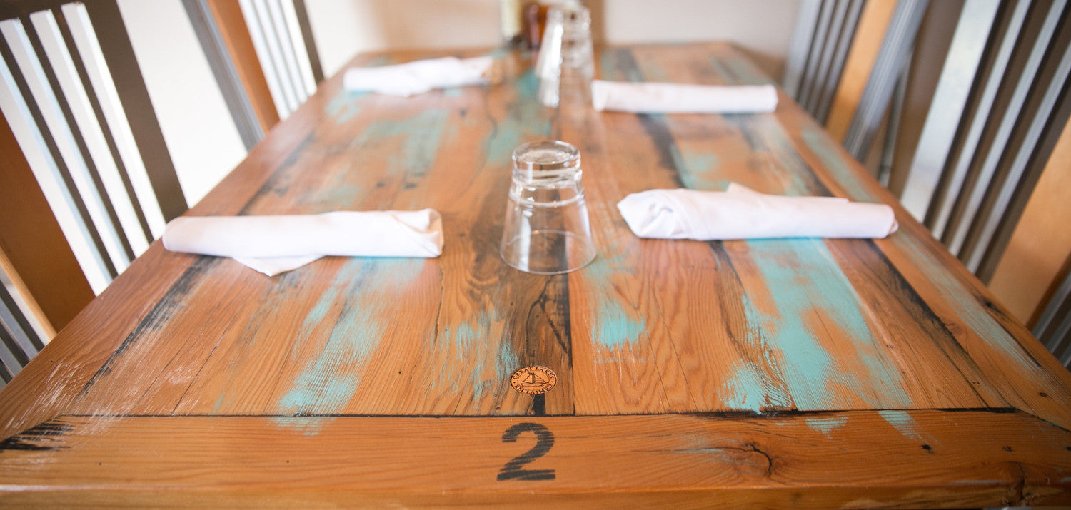 Reclaimed Barn Wood Tables. Paper Station Bistro Harbor Springs, MI - GREAT LAKES RECLAIMED €� Great Lakes Reclaimed
