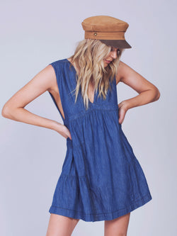 Esme Denim Mini Dress in Blue Color
