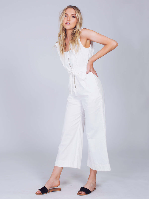 Jean Sun Valley Denim Jumpsuit in White Color
