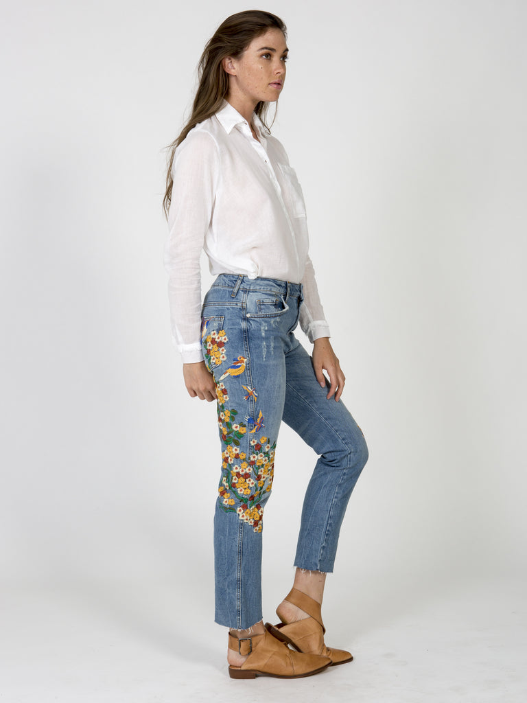 Embroidered Girlfriend Jean
