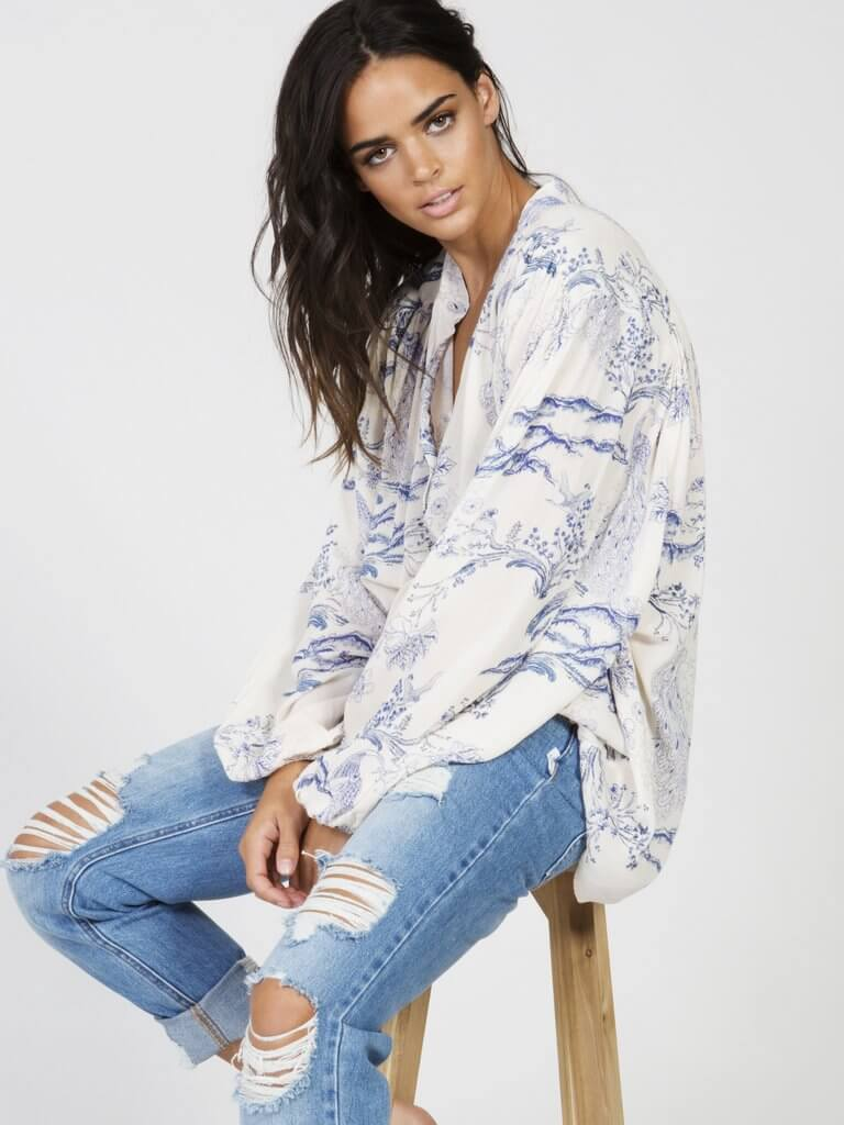 Metallic Blooms Top