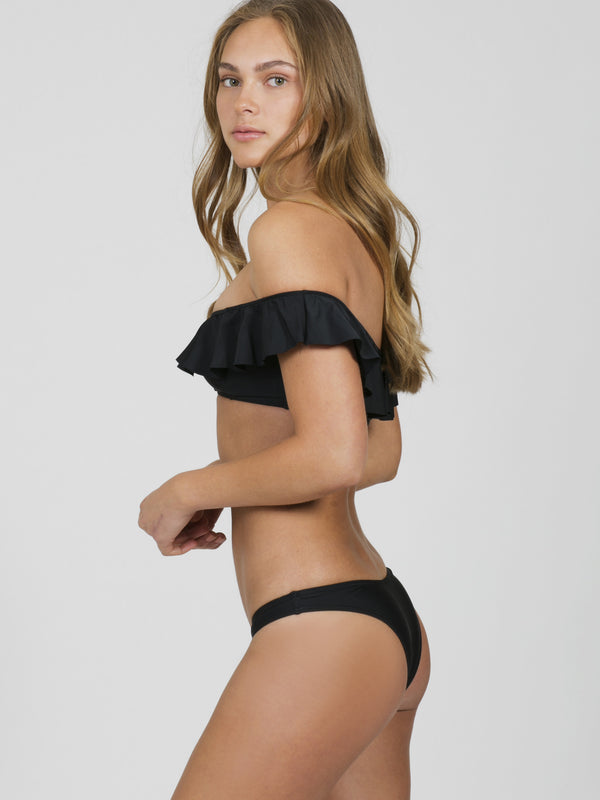 Matte Black Frill Off Shoulder Bikini Top