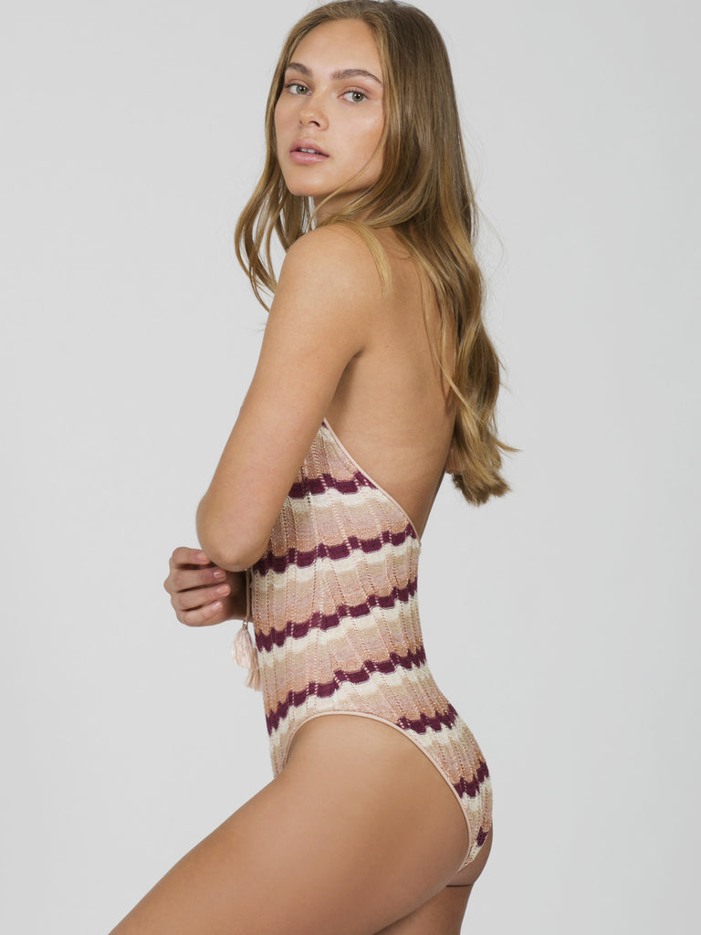 Blush Ombre Knit Lace Front One Piece