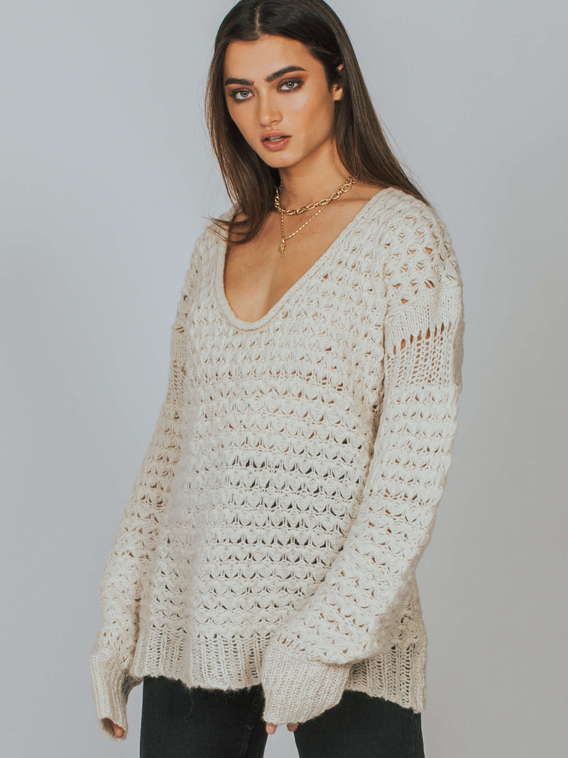 Crashing Waves Pullover Cream Free People