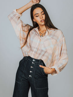Cropped Cutie Plaid Button Down Free People