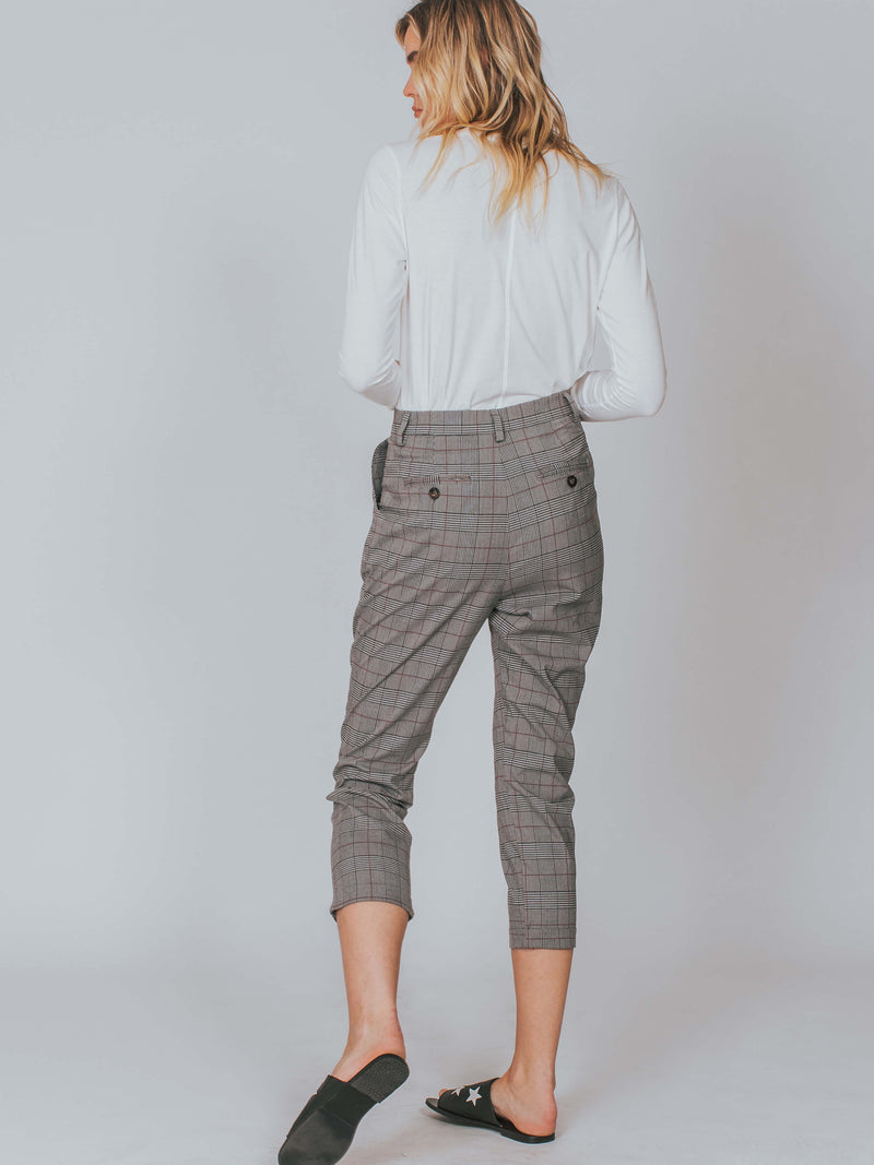 Elliot Pant Grey Plaid Astr The Label