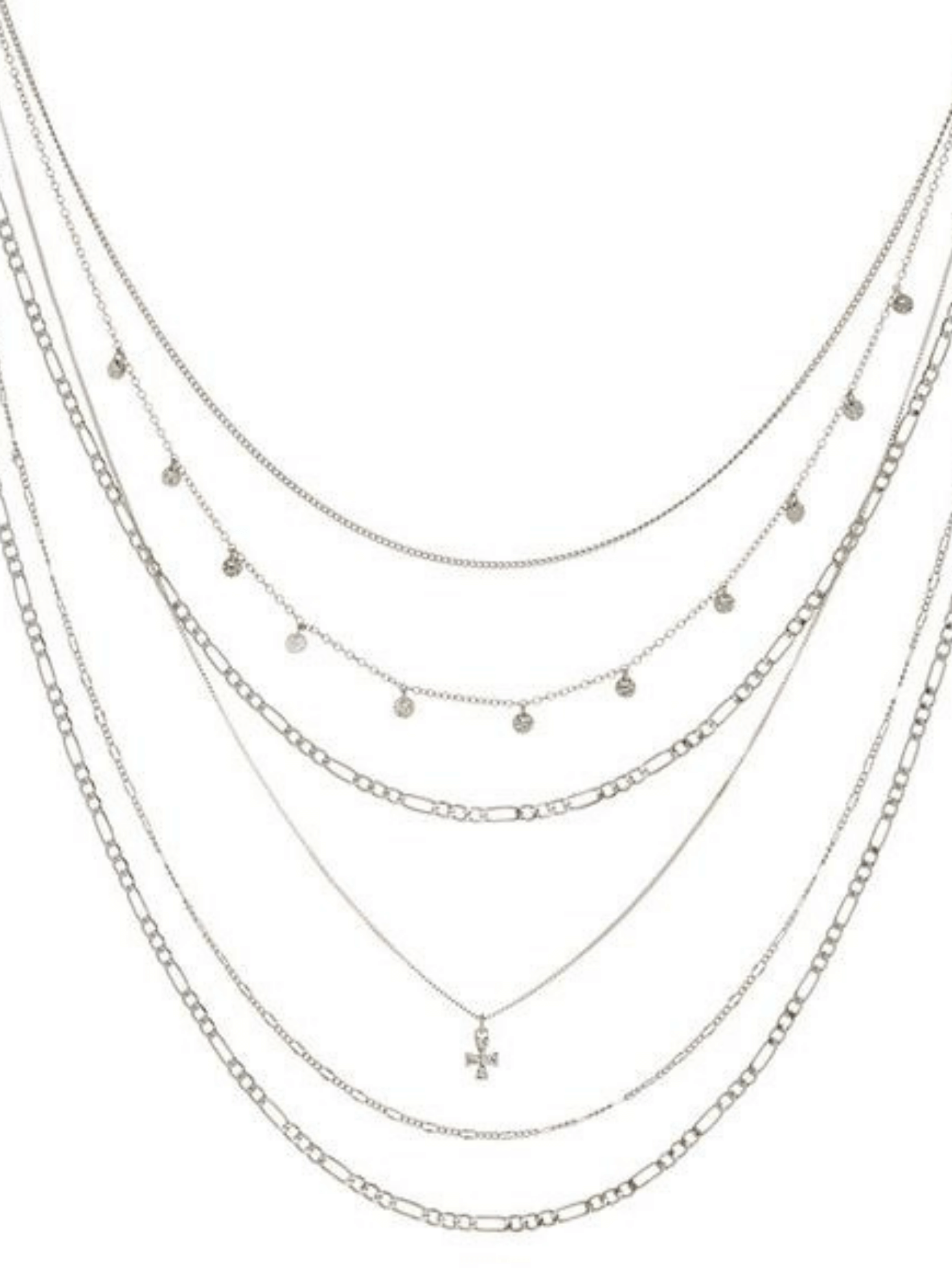 The Hammered Cross Multi Charm Necklace - Silver