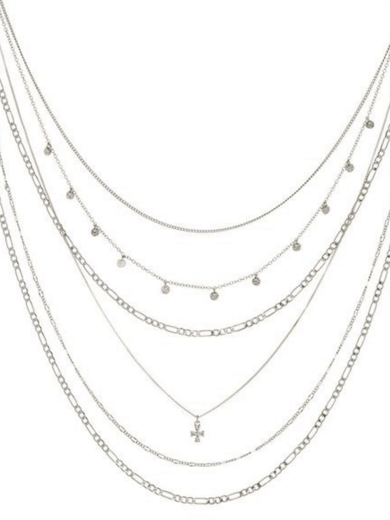 The Hammered Cross Multi Charm Necklace Silver Luv AJ